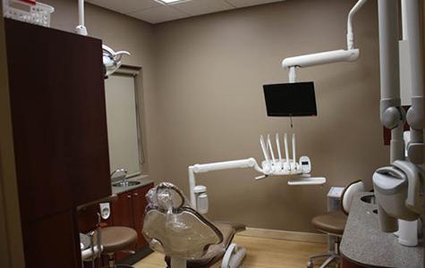 An empty dental chair